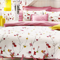 Custom Queen Size Pastel Pink Red  and Yellow  Floral Blossom Printed Bedding Set with Pink Sheet , Pillows and Shams