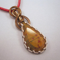Wire Wrapped Pendant Jasper Cabochon in Copper and by UptightWanda