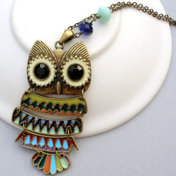 Vintage Style Owl Necklace Owl Pendant Whoooo by Beeskers on Etsy