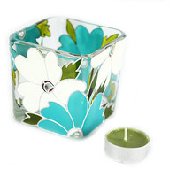 Hand Painted Glass Candle Holder Tea light candle holder hand painted glass stained glass  White and turquoise flowers aqua home decor