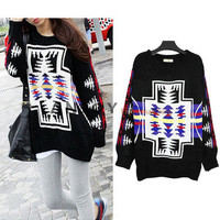 New Lady Oversize Cross Colour Aztec Pattern Black Knit Knitwear Jumper Sweater