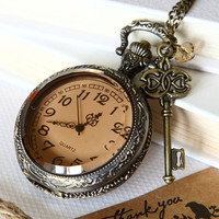 big size transparent Pocket watch Locket Necklace by Sevinoma