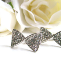 Art deco crystal rhinestone rhodium plated bow post earrings wedding jewelry bridal jewelry birthday gifts