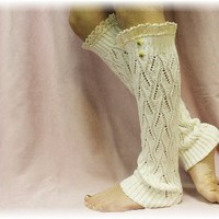 LW21 Cream Lace open knit legwarmers