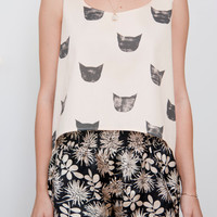Black Cat Curved Hem Tank