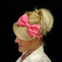 Hot pink satin bow stretch headband by VintageBowBoutique on Etsy