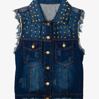 Studded Denim Vest | FOREVER 21 - 2052287689