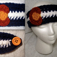 Crochet Colorado Flag Headband Ear warmer (medium)