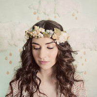 Romantic flower crown in ivory, yellow, blue and beige, style 306