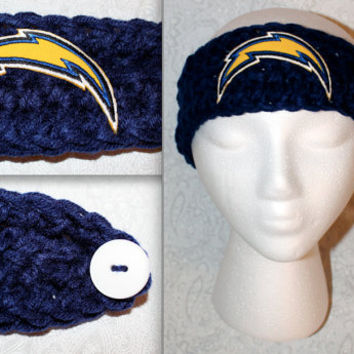 Crochet San Diego Chargers Blue Headband Ear warmer with embroidered CHARGERS logo (skinny)