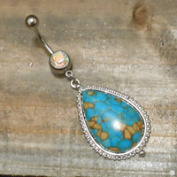Belly Button Ring - Body Jewelry - Turquoise Stone Belly Button Ring