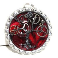 Red Marbled Steampunk Tree of Life