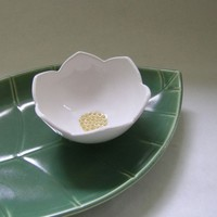 Leaf Platter and Lotus Bowl Ceramic Set by whitneysmith on Etsy