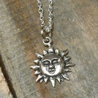 Sun Necklace - Silver Sun Charm Necklace - Sun