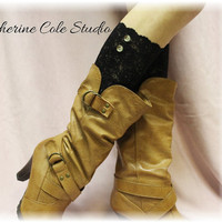 NEW BLACK  Stretch lace boot cuffs for Spring/Summer lightweight design Catherine Cole Studio made in usa lace boot toppers LC1