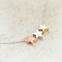 Tri-Color stars necklace