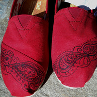 Hand Painted Custom Toms Shoes Paisley Design by FancyToms