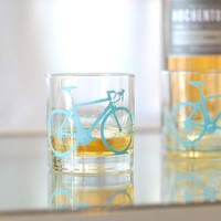 2 bicycle rocks glasses, turquoise bike