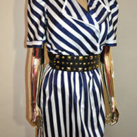 VINTAGE 80'S NAVY/WHITE BOLD STRIPED SILK DAY DRESS | eBay