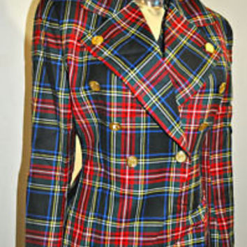 VINTAGE 80'S BOLD PLAID WOOL MILITARY DRUMMER JACKET W/GOLD BUTTONS SIZE 6