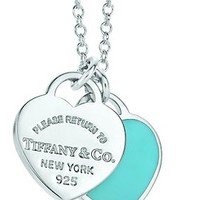 Tiffanys Co 925 Sterling Double Heart Charm Pendant Necklace