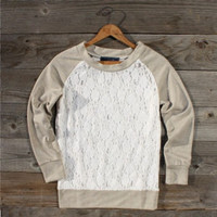 Threadwork Lace Sweatshirt, Sweet Country Women's Clothing