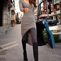 Gray Asymmetrical Hem Long Sleeve Dress