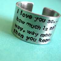 Personalized Long Quote Ring in Aluminum  Fat by SpiffingJewelry