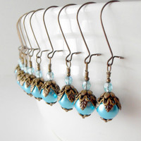 Bridesmaid Jewelry Aquamarine Pearl Earrings Beaded Dangles Antiqued Bronze Bridesmaid Earrings Bridal Marina Blue Wedding Jewelry
