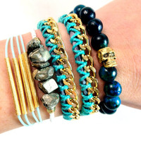 Aqua Bracelet Stack Set in Teal Gold and Grey