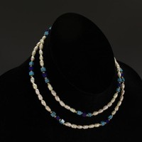 Pottery n Things - Long Freshwater Pearl, Lapis and Turquoise Necklace w/ Gold Bead Accents