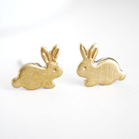Tiny bunny earrings Small brass bunny post by paperfacestudio