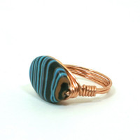 Blue Malachite Ring Copper Wire Wrapped with Oval Striped Bead Size 8