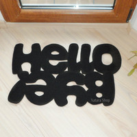 Hello / Bye Design door mat Custom rug Floor mat in by Xatara