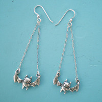 Bat Earrings - Handcarved Sterling Silver