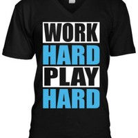 Amazon.com: Work Hard Play Hard Mens V-neck T-shirt, Big Bold Statements Play Hard Men&#x27;s V-Neck Shirt: Clothing