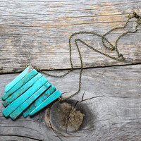 Turquoise Chunk Long Brass Chain Necklace by xVELVETx on Etsy
