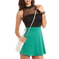 Mesh Mock Neck Skater Dress: Charlotte Russe