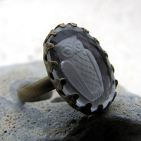 Glass Owl Ring - Antiqued Brass - Clear Vintage Glass - The Night Owl