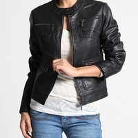 MOGAN S~3X Zip Up PU Faux LEATHER JACKET Womens Biker Slim Skinny Bomber Blazer