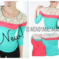 Coral or Mint Lace Top Shirt