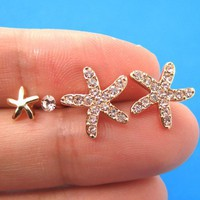 Starfish Star Animal Stud Earring 4 Piece Set with Rhinestones in Gold