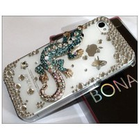 Amazon.com: Premium Bling Luxurious Luxury 3D Blue Lizards Design Diamond Rhinestone Clear Crystal Hard Back Case for Apple iPhone 4S 4 / BONA retail Packing: Electronics