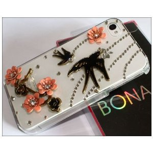 Amazon.com: Premium Bling Luxurious Luxury 3D Swallow Spring Design Diamond Rhinestone Clear Crystal Hard Back Case for Apple iPhone 4S 4 / BONA retail Packing: Electronics