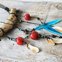Tribal necklace - Driftwood Feather Seashell OOAK