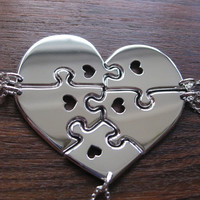 Heart shaped jigsaw puzzles with hearts pendants necklaces