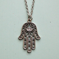 Hamsa Palm Necklace