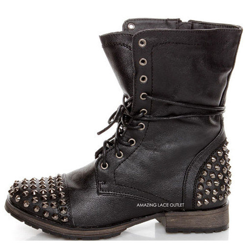 Innovative BLACK Women39s Studded Spike Lace Up Military Mid Calf Combat Boots