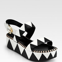 Sergio Rossi - Leather Geometric Platform Sandals