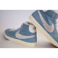 Nike Baby Blue Blazers High with ticks crystallised with Swarovski NOW AVAILABLE IN HOT PINK